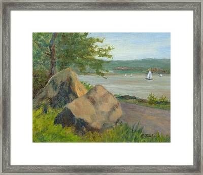 Rocks Along The Nyack Trail Framed Print by Phyllis Tarlow