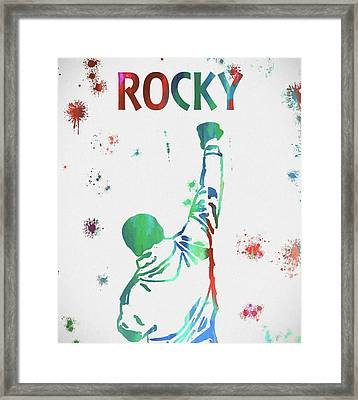 Rocky Balboa Paint Splatter Framed Print by Dan Sproul