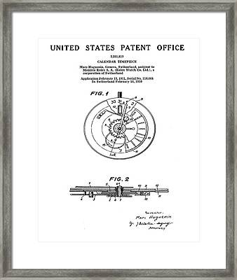 Rolex Watch Patent 1999 Framed Print by Bill Cannon