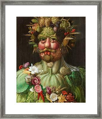 Rudolf II Of Habsburg As Vertumnus Framed Print by Giuseppe Arcimboldo