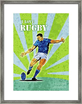 Rugby Player Kicking The Ball Framed Print by Aloysius Patrimonio