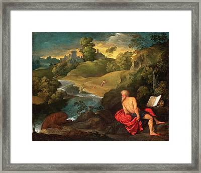 Saint Jerome In The Wilderness Framed Print by Paris Bordone