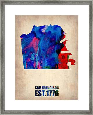 San Francisco Watercolor Map Framed Print by Naxart Studio