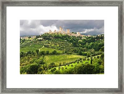 San Gimignano Tuscany Italy Framed Print by Carl Amoth