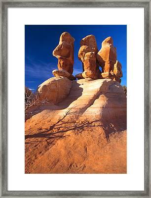 Sandstone Hoodoos In Utah Desert Framed Print by Utah Images