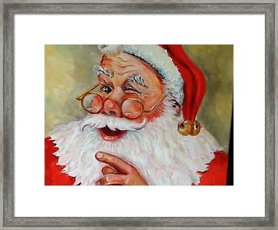 Santa Winking II Framed Print by Sheila Kinsey