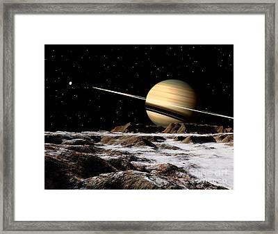 Saturn Seen From The Surface Framed Print by Ron Miller