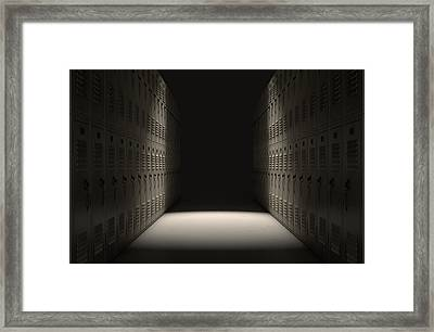 School Locker Corridor Framed Print by Allan Swart