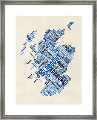 Scotland Typography Text Map Framed Print by Michael Tompsett