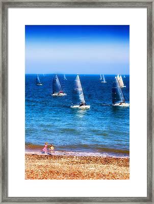 Seaside Fun Framed Print by Mal Bray