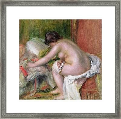 Seated Bather Framed Print by Pierre Auguste Renoir