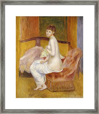 Seated Nude Framed Print by Pierre Auguste Renoir