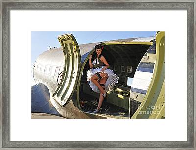 Sexy 1940s Style Pin-up Girl Standing Framed Print by Christian Kieffer