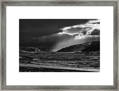 Shaft Of Sunlight In Lamar Valley Framed Print by Neal Herbert