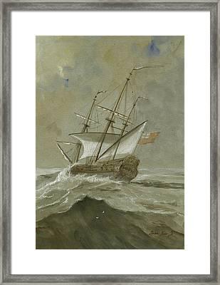 Ship At The Storm Framed Print by Juan Bosco