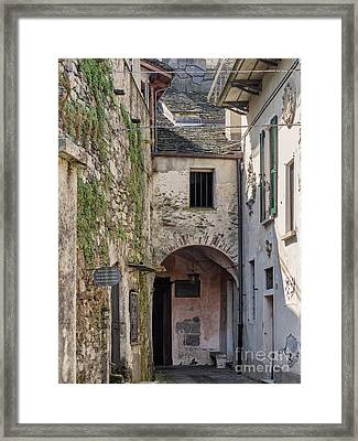 Small Streets In City At The Island In Lake Orta  Italy Framed Print by Frank Bach