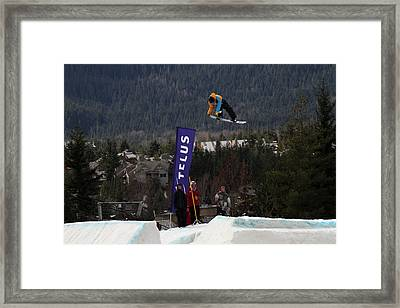 Snowboarder At The Telus Snowboard Festival Whistler 2010 Framed Print by Pierre Leclerc Photography