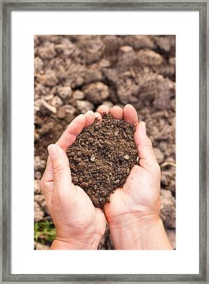 Soil In Hands Framed Print by Boyan Dimitrov