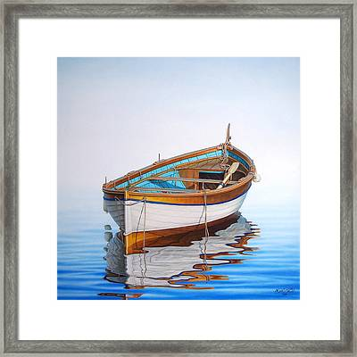 Solitary Boat On The Sea Framed Print by Horacio Cardozo