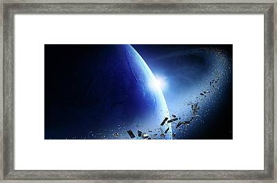 Space Junk Orbiting Earth Framed Print by Johan Swanepoel