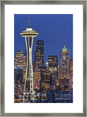Space Needle And Downtown Seattle Skyline Framed Print by Rob Tilley