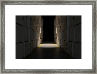 Stacked Boxes Warehouse Framed Print by Allan Swart