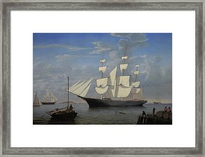 Starlight In Harbor Framed Print by Fitz Henry Lane