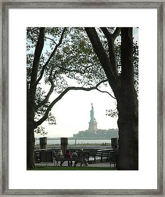 Statue Of Liberty From Ellis Island Framed Print by Frank Mari
