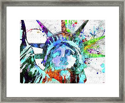 Statue Of Liberty Grunge Framed Print by Daniel Janda