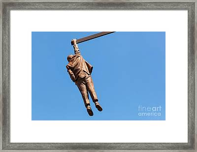 Statue Of Sigmund Freud Hanging By One Hand In Prague, Czech Republic. Framed Print by Michal Bednarek