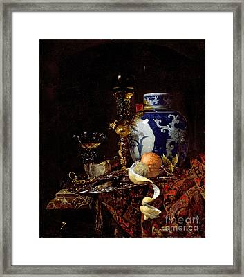 Still Life With A Chinese Porcelain Jar Framed Print by Willem Kalf