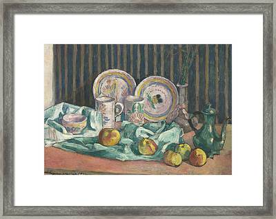 Still Life With Apples And Fruit Bowls Framed Print by Emile Bernard
