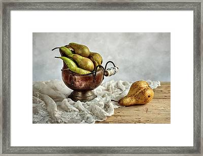 Still-life With Pears Framed Print by Nailia Schwarz