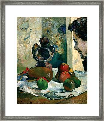 Still Life With Profile Of Laval Framed Print by Paul Gauguin