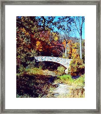 Stone Bridge In Autumn Framed Print by Roy Anthony Kaelin