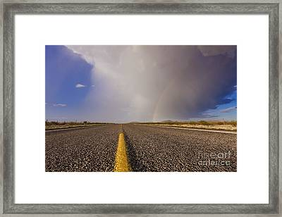 Storm And Rainbow Along The Highway Framed Print by Jeremy Woodhouse