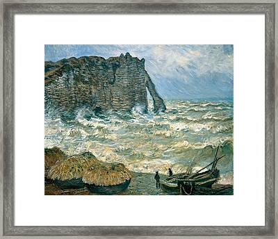 Stormy Sea In Etretat Framed Print by Claude Monet