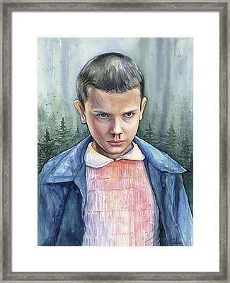 Stranger Things Eleven Portrait Framed Print by Olga Shvartsur