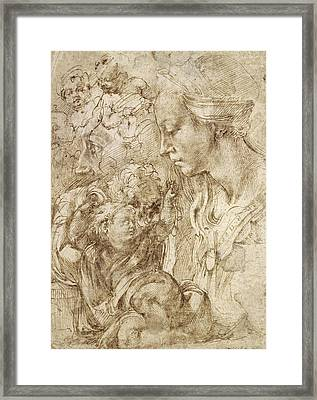 Studies For A Holy Family Framed Print by Michelangelo Buonarroti