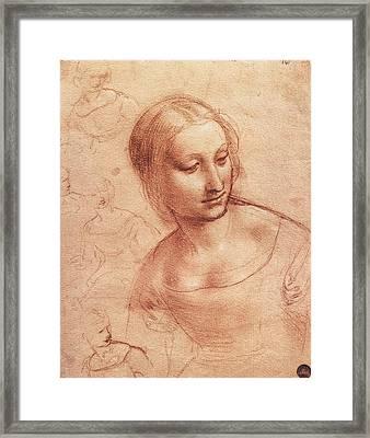 Study For Madonna With The Yarnwinder Framed Print by Leonardo da Vinci