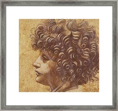Study Of A Child's Head Framed Print by Leonardo Da Vinci