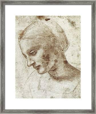 Study Of A Woman's Head Framed Print by Leonardo da Vinci