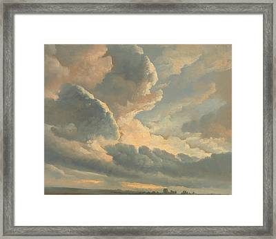 Study Of Clouds With A Sunset Near Rome Framed Print by Simon Alexandre Clement Denis