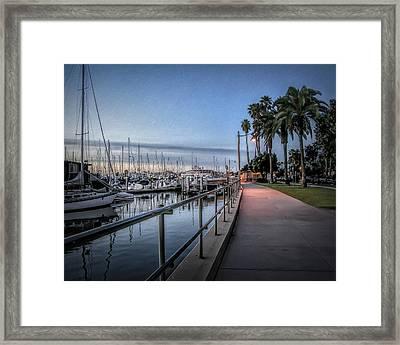 Sunrise Over Santa Barbara Marina Framed Print by Tom Mc Nemar
