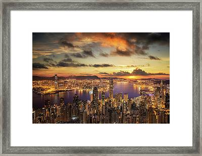 Sunrise Over Victoria Harbor As Viewed Atop Victoria Peak Framed Print by Anek Suwannaphoom
