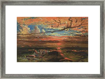 Sunset At Sea After A Storm Framed Print by Francis Danby
