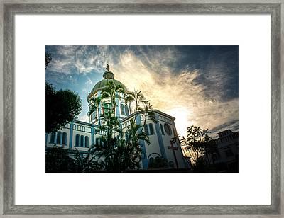 Sunset Iglesia Maria Auxiliadora - San Salvador Framed Print by Totto Ponce