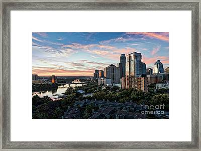 Sunset Skyline Over Austin Framed Print by Tod and Cynthia Grubbs