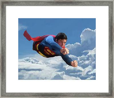 Superman Soaring Framed Print by Paul Tagliamonte