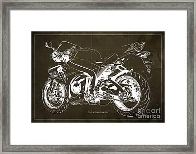 Suzuki Gsx-r1000 2012 Blueprint Gift For Men Framed Print by Pablo Franchi